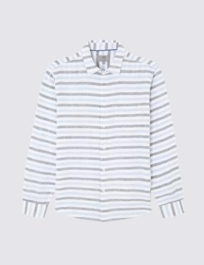 Uzun Kollu Çizgili Keten Gömlek