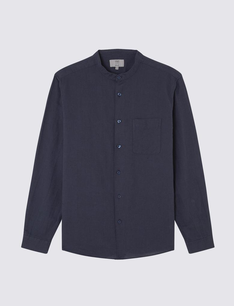 Erkek Lacivert Uzun Kollu Keten Gömlek
