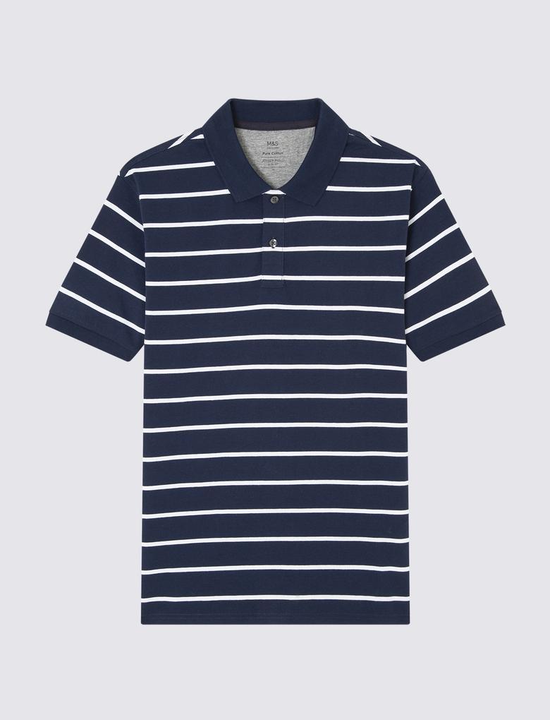 Çizgili Kısa Kollu Polo Yaka T-Shirt