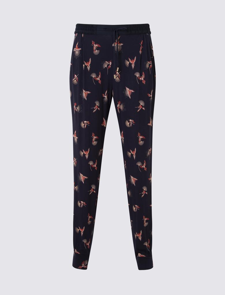 Kadın Lacivert Desenli Pijama Altı