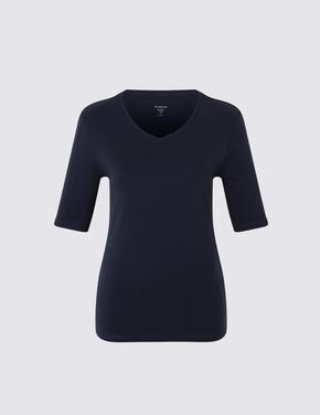 Yarım Kollu V Yaka T-Shirt
