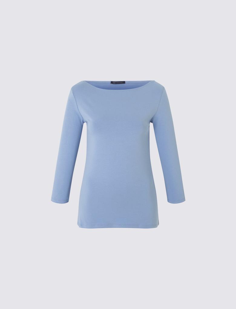 Mavi 3/4 Kollu T-Shirt