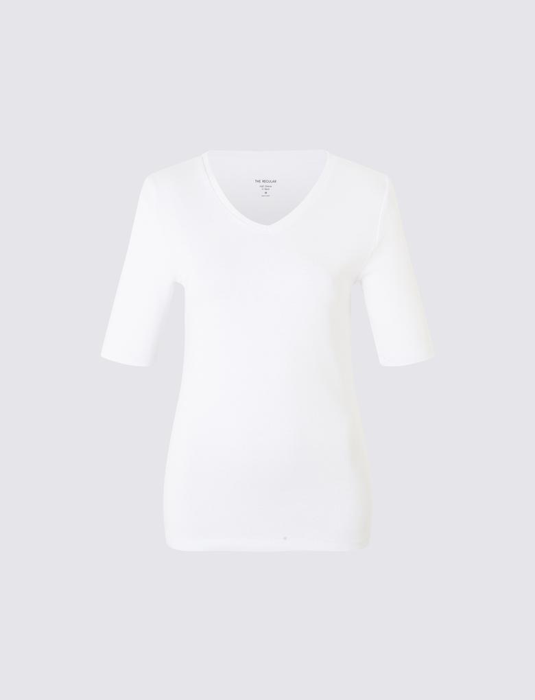 Beyaz Yarım Kollu V Yaka T-Shirt