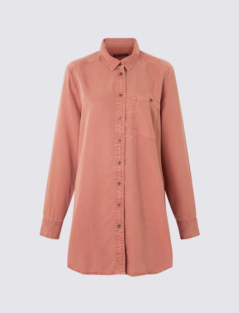 Kadın Kahverengi Uzun Tencel™ Gömlek