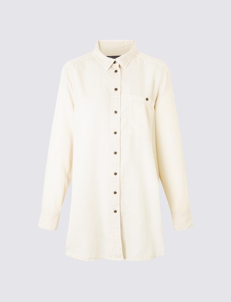 Bej Uzun Tencel™ Gömlek