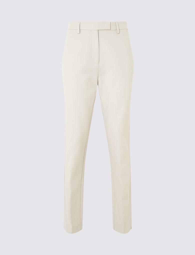 Kadın Gri Pamuklu Slim Leg Pantolon