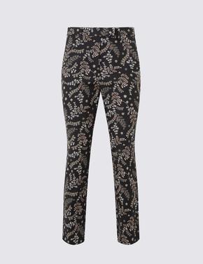 Çiçek Desenli Slim Leg Pantolon
