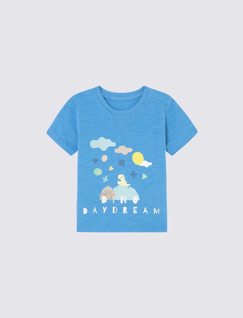 Mavi Dinozor Desenli Kısa Kollu T-Shirt