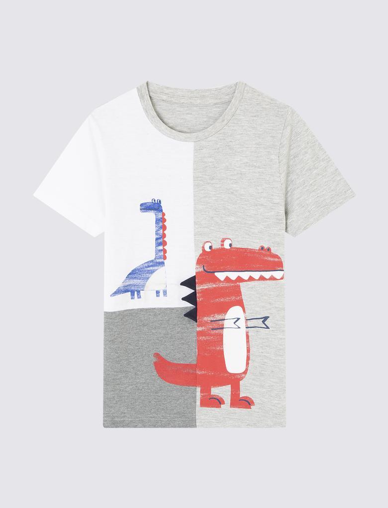 Erkek Çocuk Gri Sevimli Dinozor Desenli Kısa Kollu T-Shirt