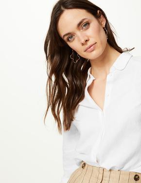Beyaz Düğme Detaylı Uzun Kollu Gömlek