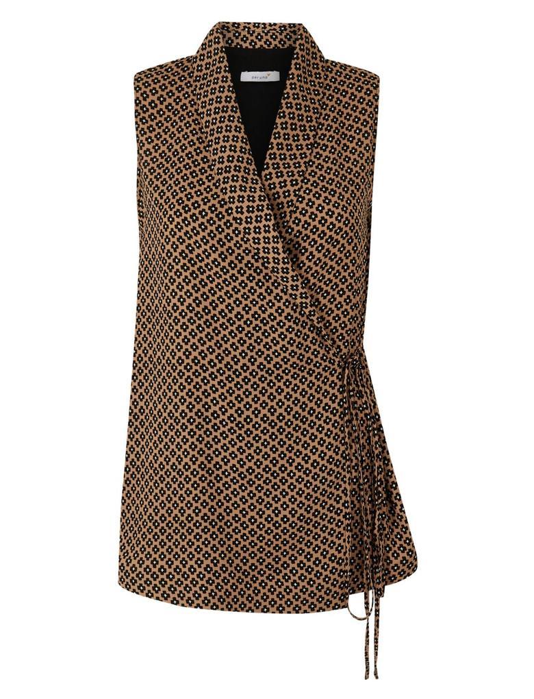 Kahverengi Desenli V Yaka Bluz