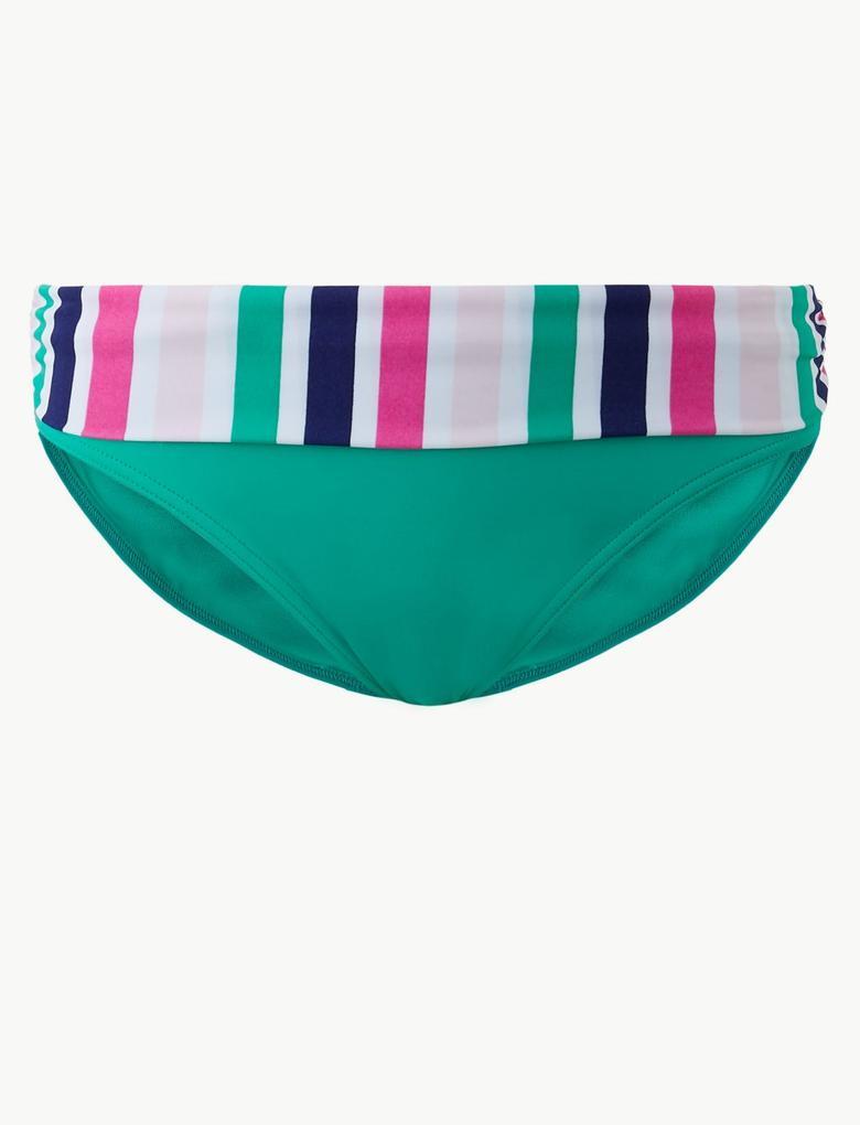 Kadın Yeşil Çizgili Bikini Altı