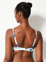 Kadın Beyaz Tukan Kuşu Desenli Plunge Bikini Üstü