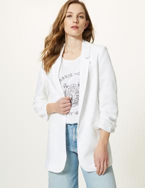 Beyaz Önü Açık Blazer Ceket
