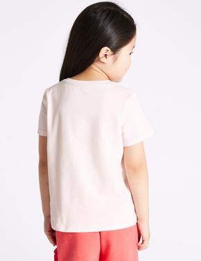 Saf Pamuklu Avokado Desenli T-Shirt