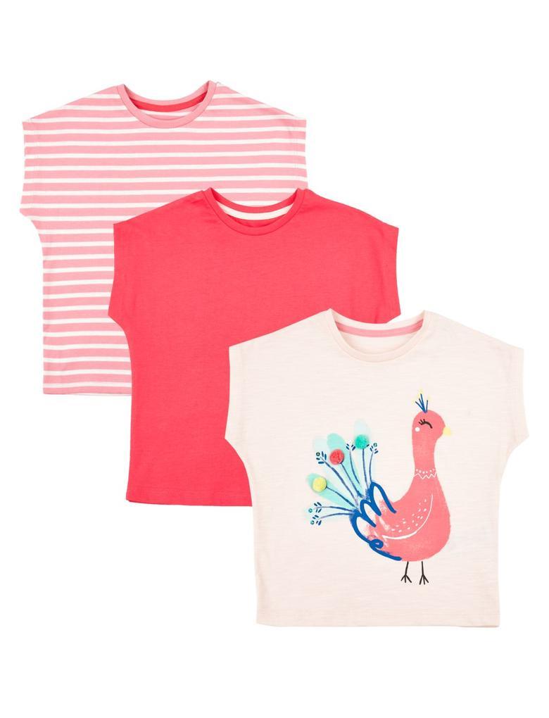 Pembe 3'lü Saf Pamuklu T-Shirt Seti