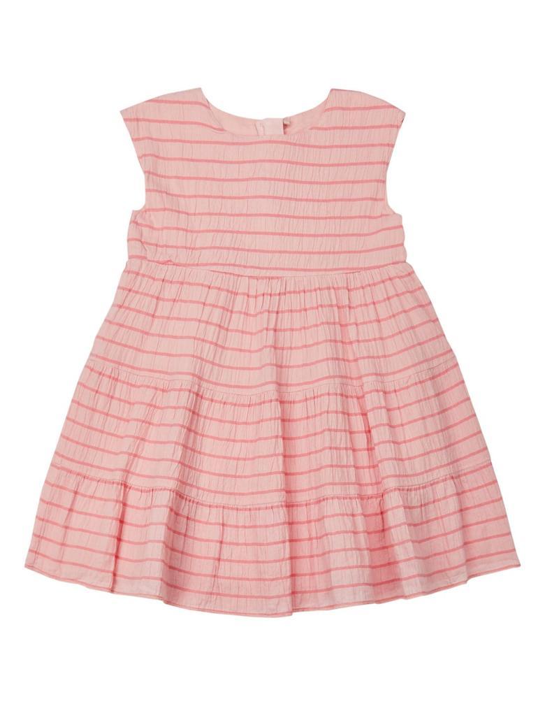 Kız Çocuk Pembe Pamuklu Çizgili Streç Elbise