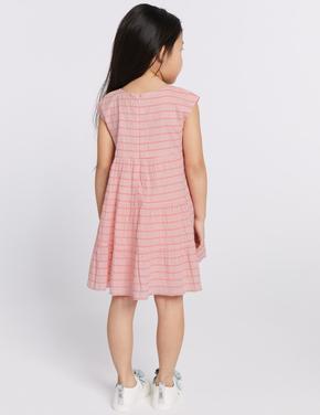 Pamuklu Çizgili Streç Elbise