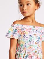Palmiye Desenli Düşük Omuzlu Elbise