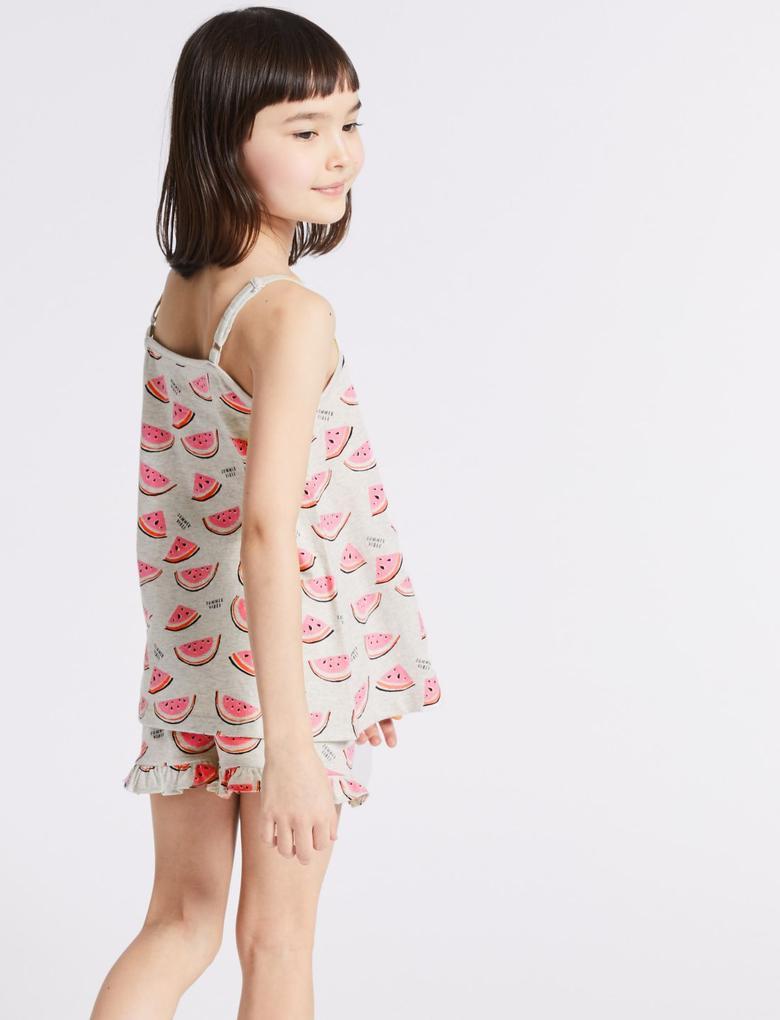 Gri Saf Pamuklu Şort Pijama Takımı