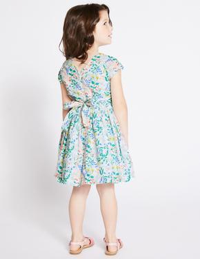 Saf Pamuklu Çiçekli Elbise