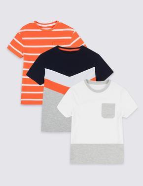 Erkek Çocuk Multi Renk 3'lü Saf Pamuklu T-Shirt Seti