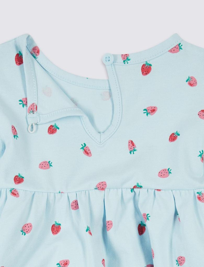 Mavi Organik Pamuklu Streç Elbise