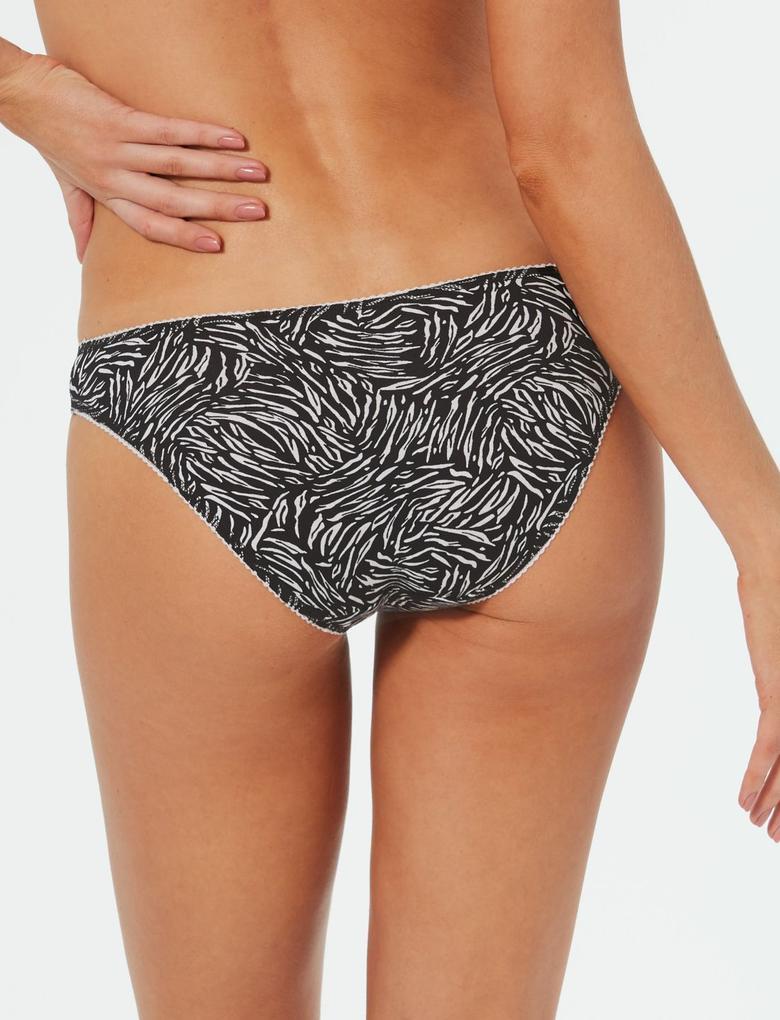 Siyah 5'li Pamuklu Desenli Bikini Külot Seti
