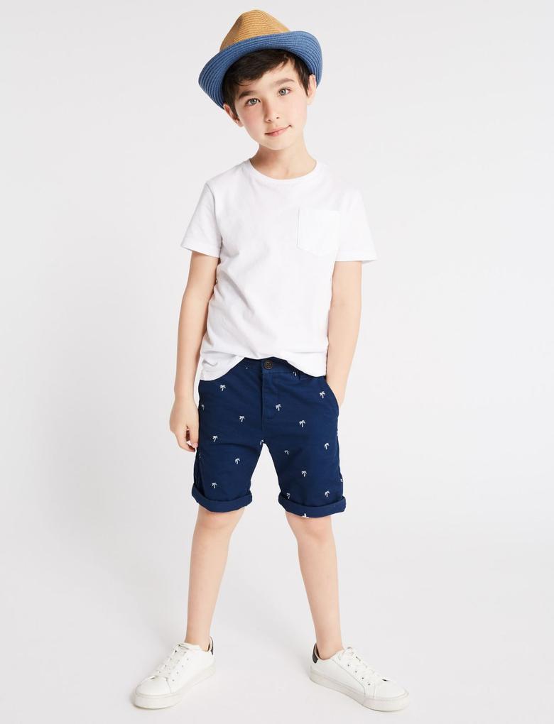Erkek Çocuk Mavi Pamuklu İşlemeli Streç Şort