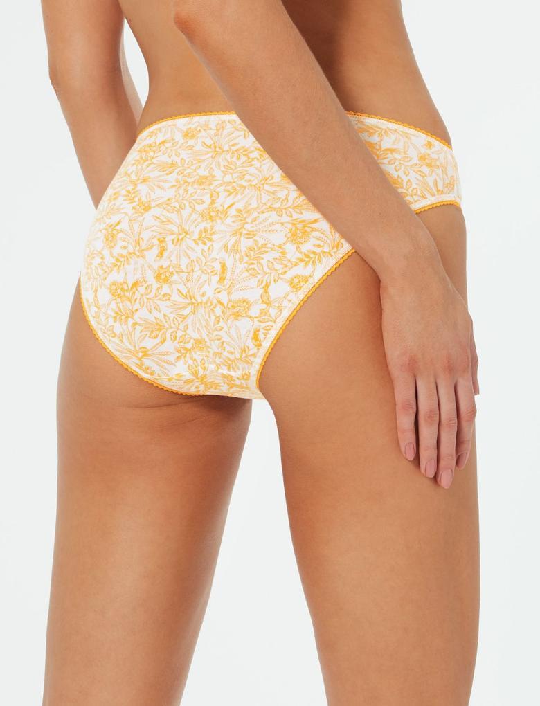 Sarı 5'li Pamuklu High Leg Külot Seti