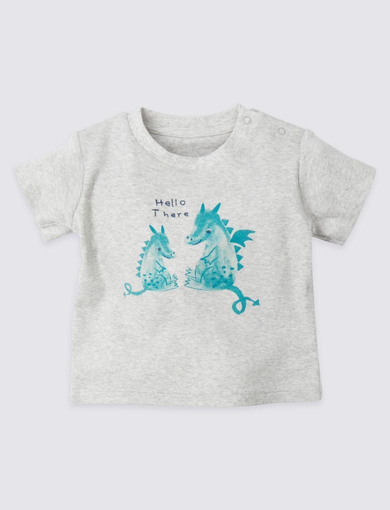 Saf Pamuklu Hello There T-Shirt