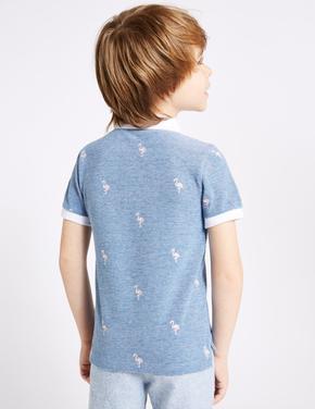 Saf Pamuklu İşlemeli Polo Yaka T-Shirt