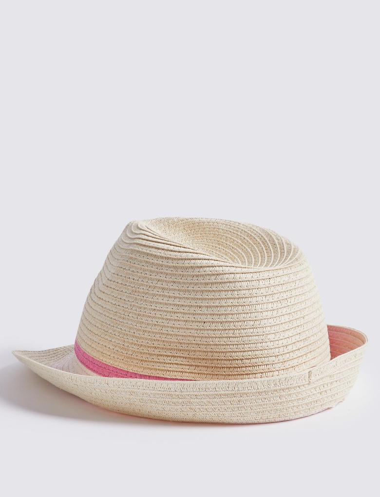 Kız Çocuk Multi Renk UPF50 Korumalı Hasır Şapka