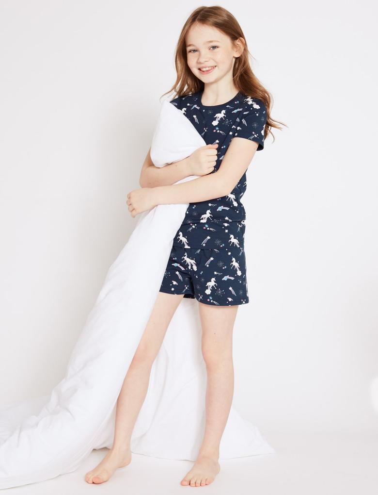 Lacivert Pamuklu Streç Pijama Takımı