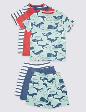 3'lü Saf Pamuklu Şort Pijama Takımı