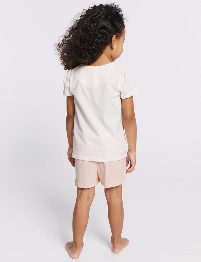 Kız Çocuk Pembe 2'li Şort Pijama Takımı