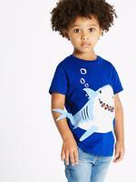 Saf Pamuklu Köpek Balığı Desenli T-Shirt