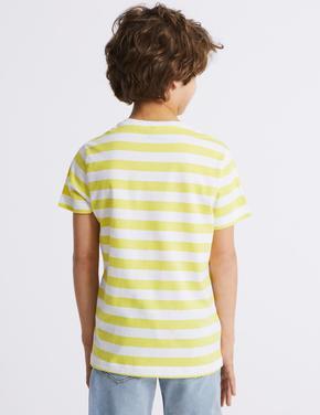 Pamuklu Çizgili T-Shirt