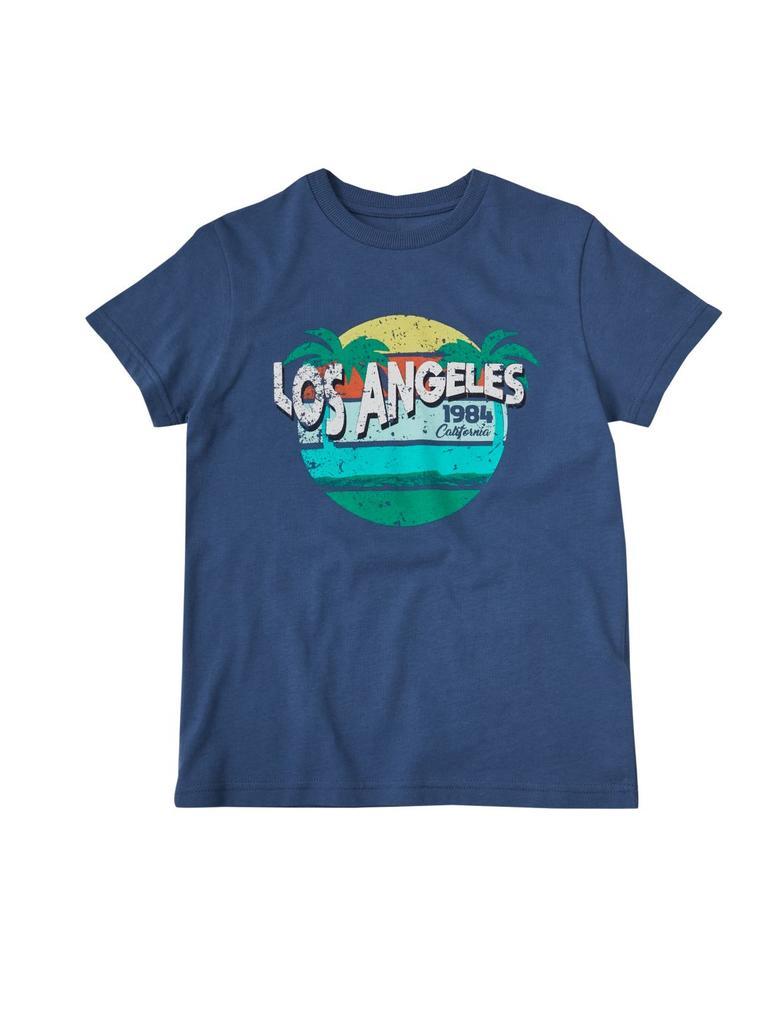 Lacivert Saf Pamuklu Los Angeles Desenli T-Shirt