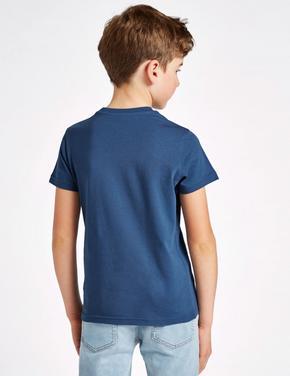 Saf Pamuklu Los Angeles Desenli T-Shirt