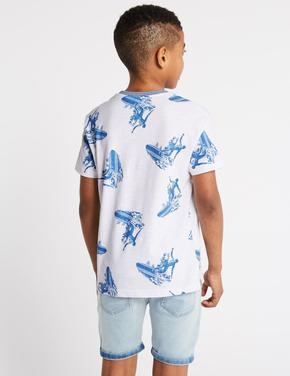 Saf Pamuklu Surf Desenli T-Shirt