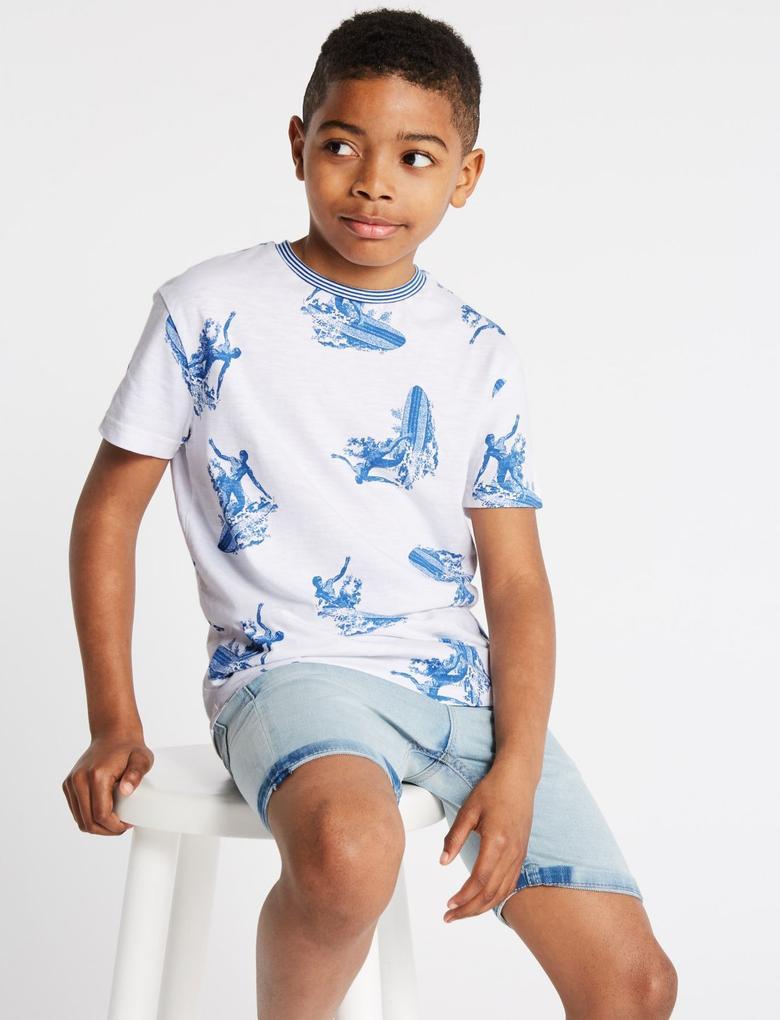 Erkek Çocuk Beyaz Saf Pamuklu Surf Desenli T-Shirt