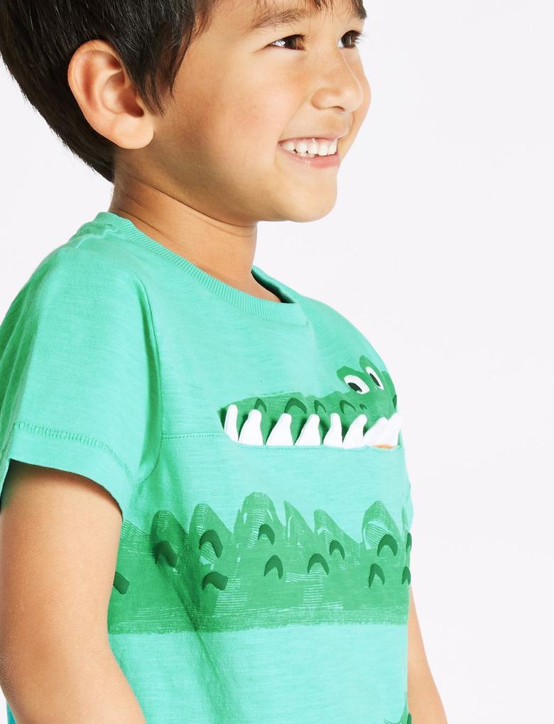 Saf Pamuklu Timsah Desenli T-Shirt