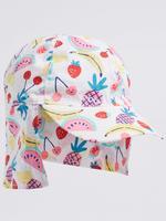 Kız Çocuk Beyaz UPF50 Korumalı Desenli Arkası Uzun Şapka