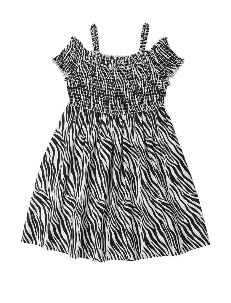Kız Çocuk Siyah Zebra Desenli Elbise