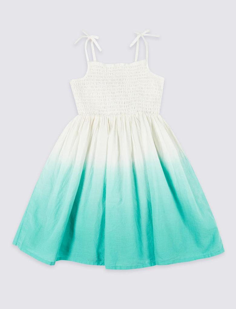 Kız Çocuk Multi Renk Saf Pamuklu Elbise
