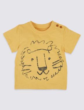 Saf Pamuklu Lion T-Shirt