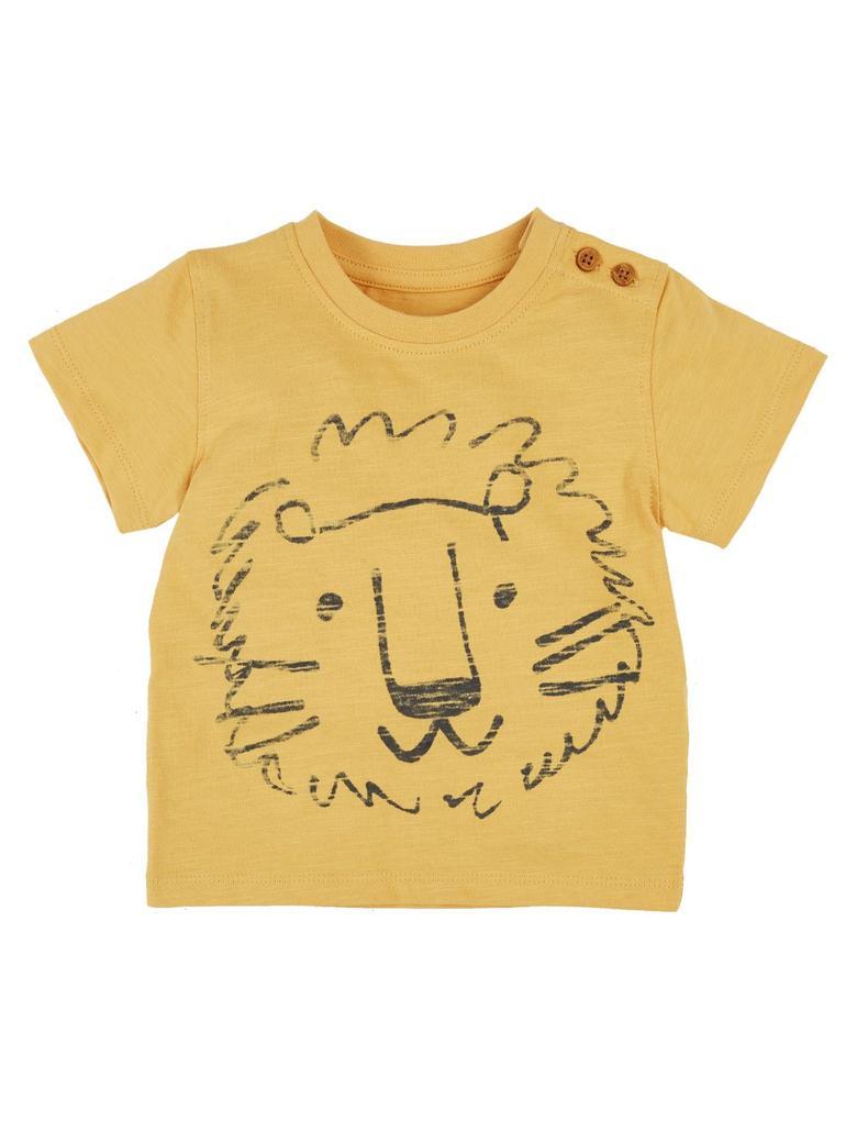 Sarı Saf Pamuklu Lion T-Shirt