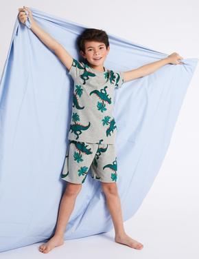 Pamuklu Dinozor Desenli Şort Pijama Takımı