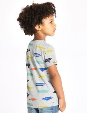 Pamuklu Surfboard Desenli T-Shirt